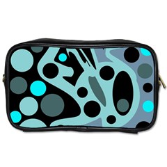 Cyan Blue Abstract Art Toiletries Bags