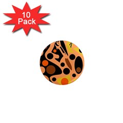 Orange Abstract Decor 1  Mini Magnet (10 Pack)  by Valentinaart