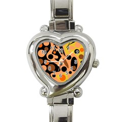 Orange Abstract Decor Heart Italian Charm Watch by Valentinaart