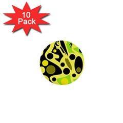 Green Abstract Art 1  Mini Buttons (10 Pack)  by Valentinaart