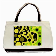 Green Abstract Art Basic Tote Bag by Valentinaart