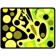 Green Abstract Art Fleece Blanket (large)  by Valentinaart
