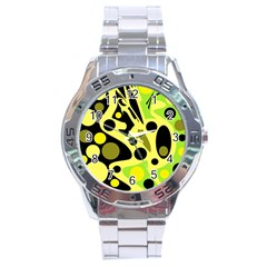 Green Abstract Art Stainless Steel Analogue Watch by Valentinaart