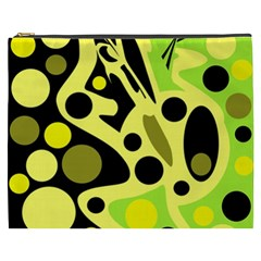 Green Abstract Art Cosmetic Bag (xxxl)  by Valentinaart