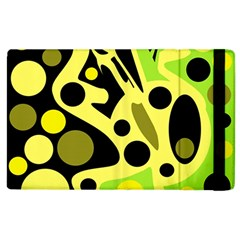 Green Abstract Art Apple Ipad 2 Flip Case by Valentinaart