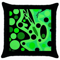 Green Abstract Decor Throw Pillow Case (black) by Valentinaart