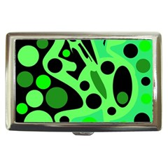 Green Abstract Decor Cigarette Money Cases by Valentinaart