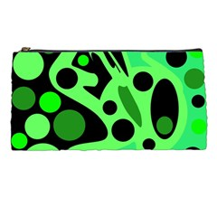 Green Abstract Decor Pencil Cases by Valentinaart