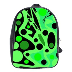 Green Abstract Decor School Bags(large)  by Valentinaart