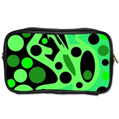 Green Abstract Decor Toiletries Bags 2 Side by Valentinaart