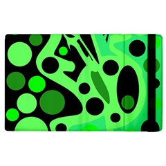 Green Abstract Decor Apple Ipad 2 Flip Case by Valentinaart