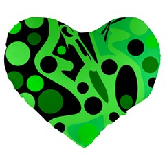 Green Abstract Decor Large 19  Premium Heart Shape Cushions by Valentinaart
