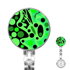 Green Abstract Decor Stainless Steel Nurses Watch by Valentinaart