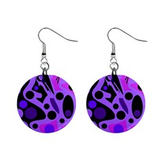 Purple Abstract Decor Mini Button Earrings by Valentinaart