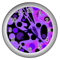 Purple Abstract Decor Wall Clocks (silver)  by Valentinaart
