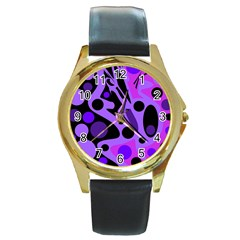 Purple Abstract Decor Round Gold Metal Watch by Valentinaart