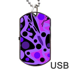 Purple Abstract Decor Dog Tag Usb Flash (one Side) by Valentinaart