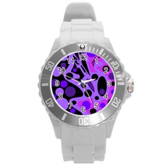 Purple Abstract Decor Round Plastic Sport Watch (l) by Valentinaart