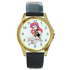 Humans Suck Round Gold Metal Watch by lvbart