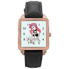 Humans Suck Rose Gold Leather Watch  by lvbart