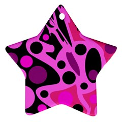 Pink Abstract Decor Star Ornament (two Sides)  by Valentinaart