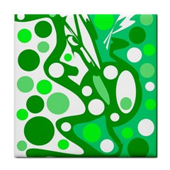 White And Green Decor Tile Coasters by Valentinaart