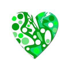 White And Green Decor Heart Magnet by Valentinaart