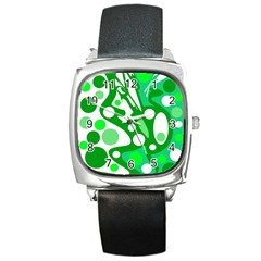 White And Green Decor Square Metal Watch by Valentinaart