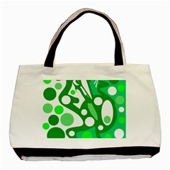 White And Green Decor Basic Tote Bag by Valentinaart
