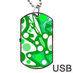 White And Green Decor Dog Tag Usb Flash (two Sides)  by Valentinaart