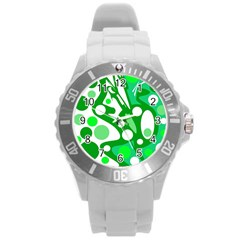White And Green Decor Round Plastic Sport Watch (l) by Valentinaart