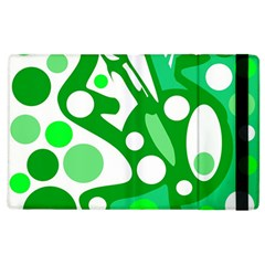 White And Green Decor Apple Ipad 2 Flip Case by Valentinaart
