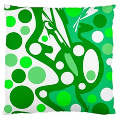 White And Green Decor Large Flano Cushion Case (one Side) by Valentinaart