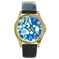 Blue And White Decor Round Gold Metal Watch by Valentinaart