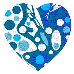 Blue And White Decor Jigsaw Puzzle (heart) by Valentinaart