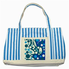 Blue And White Decor Striped Blue Tote Bag by Valentinaart