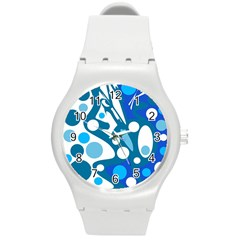 Blue And White Decor Round Plastic Sport Watch (m) by Valentinaart