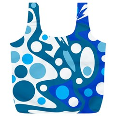 Blue And White Decor Full Print Recycle Bags (l)  by Valentinaart