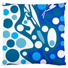Blue And White Decor Large Flano Cushion Case (two Sides) by Valentinaart