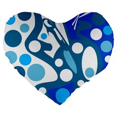 Blue And White Decor Large 19  Premium Flano Heart Shape Cushions by Valentinaart