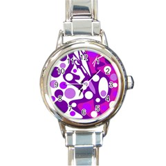 Purple And White Decor Round Italian Charm Watch by Valentinaart