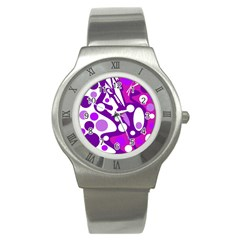 Purple And White Decor Stainless Steel Watch by Valentinaart