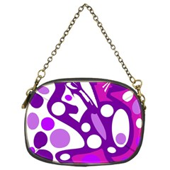 Purple And White Decor Chain Purses (two Sides)  by Valentinaart