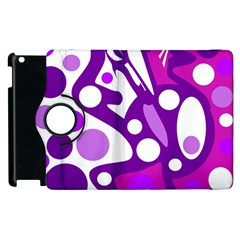 Purple And White Decor Apple Ipad 2 Flip 360 Case by Valentinaart