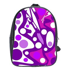Purple And White Decor School Bags (xl)  by Valentinaart