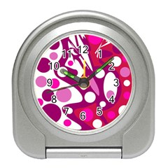 Magenta And White Decor Travel Alarm Clocks by Valentinaart