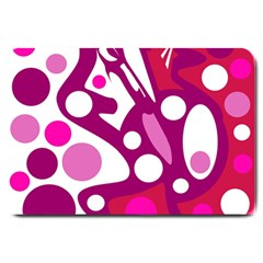 Magenta And White Decor Large Doormat  by Valentinaart