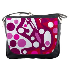 Magenta And White Decor Messenger Bags by Valentinaart