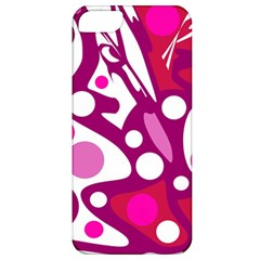 Magenta And White Decor Apple Iphone 5 Classic Hardshell Case by Valentinaart