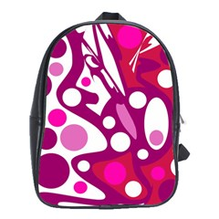 Magenta And White Decor School Bags (xl)  by Valentinaart